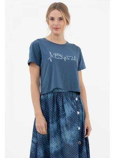 Sementa Oversize Basic Baskılı Kısa Tshirt - Mavi Mavi
